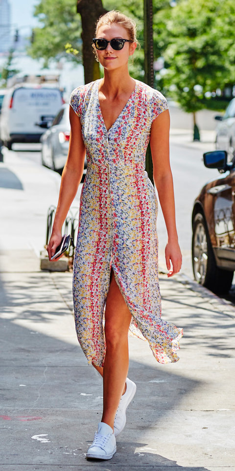 Karlie Kloss spotted wearing a floral print dress while running errands in NYC
