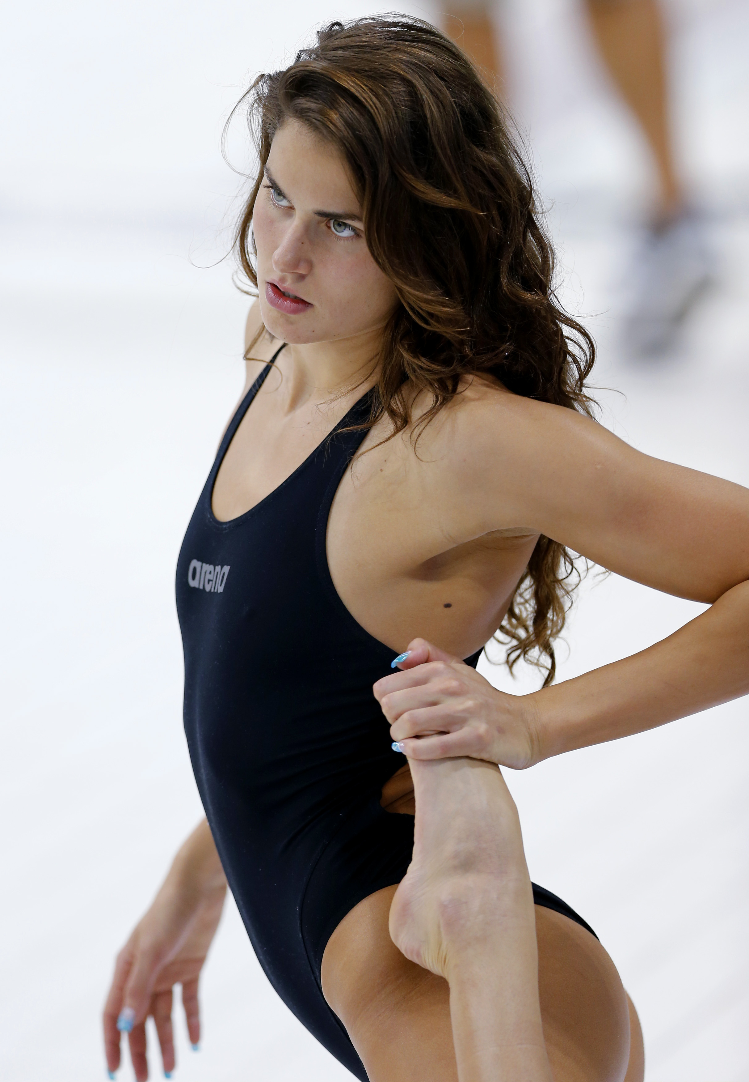Hungary's Zsuzsanna Jakabos warms up before her women's 200m butterfly semi-final during the London 2012 Olympic Games