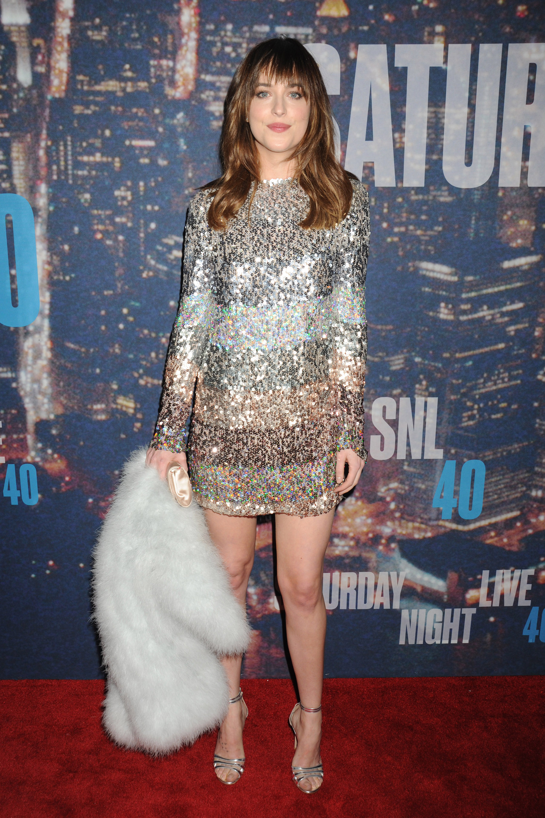 """Dakota Johnson arrives and joins comedy's biggest stars return toStudio 8H for one night only topay tribute to the series' incredible 40 year history for the """"SNL 40th Anniversary Special"""". The show airs live on Sunday, February 15, 2015, held in Rockefeller Plaza at Rockefeller Center in NYC. Pictured: Dakota Johnson Ref: SPL952832 150215 Picture by: Johns PKI / Splash News Splash News and Pictures Los Angeles:310-821-2666 New York: 212-619-2666 London: 870-934-2666 photodesk@splashnews.com"""