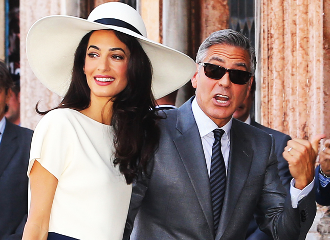 George Clooney and Amal Allamudin leave on September 29, 2014 at the palazzo ca farsetti in Venice, for a civil ceremony to officialise their wedding. Pictured: George Clooney and Amal Alamuddin Ref: SPL853194 290914 Picture by: Splash News Splash News and Pictures Los Angeles:310-821-2666 New York:212-619-2666 London:870-934-2666 photodesk@splashnews.com